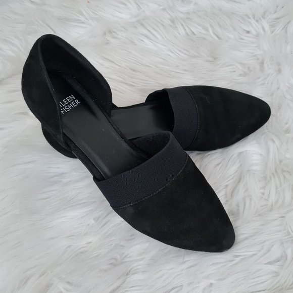 Eileen Fisher Black Suede Pointed Toe Flats sz 9